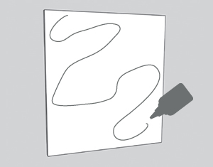 illustration of glue being spread on Masonite board