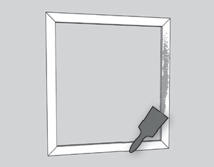 illustration of frame pieces being painted
