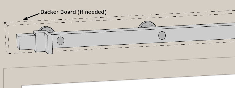 illustration of backer board and sliding rail installed above doorway